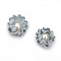 Цветя от велурена хартия перла 20x10 мм цвят светло син пастел -2 броя