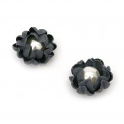 Цветя от велурена хартия перла 20x10 мм цвят тъмно син пастел -2 броя