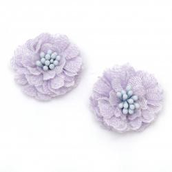 Цвете от дантела с тичинки 30x15 мм цвят лилав -2 броя