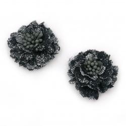 Цвете от дантела с тичинки 30x15 мм цвят тъмно син -2 броя
