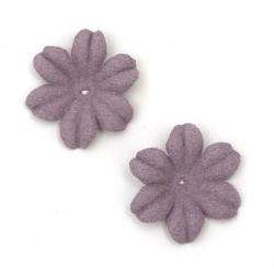 Цветя от велурена хартия 27x5 мм цвят лилав пастел -10 броя
