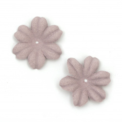 Цветя от велурена хартия 27x5 мм цвят светло лилав пастел -10 броя
