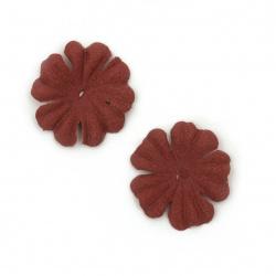 Цветя от велурена хартия 25 мм цвят вишнев пастел -10 броя