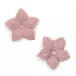 Цветя от велурена хартия 25 мм цвят розово лилав пастел -10 броя