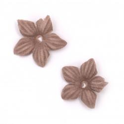 Цветя от велурена хартия 25 мм цвят пепел от рози пастел -10 броя