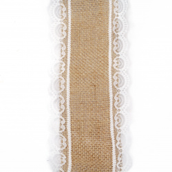 Burlap Ribbon Base for Application with lace DIY Crafts Decorations, Embroidery 8.5x200 cm.