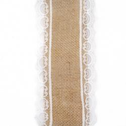 Κορδέλα λινάτσα με δαντέλα 8.5x200 cm