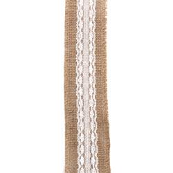 Κορδέλα λινάτσα με δαντέλα 5x200 cm