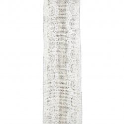 Κορδέλα λινάτσα με δαντέλα 6x200 cm λευκό