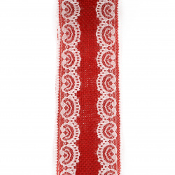 Burlap Ribbon Base for Application with lace DIY Crafts Decorations, Embroidery 6x200 cm color red