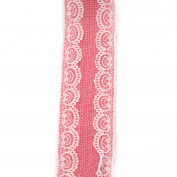 Burlap Ribbon Base for Application with lace DIY Crafts Decorations, Embroidery 6x200 cm color pink