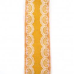 Основа за апликация лента зебло с дантела 6x200 см цвят жълт тъмен