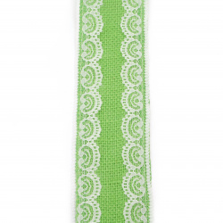 Burlap Ribbon Base for Application with lace DIY Crafts Decorations, Embroidery 6x200 cm color green