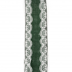 Burlap Ribbon Base for Application with lace DIY Crafts Decorations, Embroidery 6x200 cm color green dark