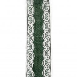 Baza pentru aplicare pânză de sac panglică cu dantelă 6x200 cm culoare verde închis