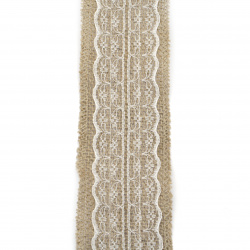 Burlap Ribbon Base for Application with lace DIY Crafts Decorations, Embroidery 6x200 cm cream