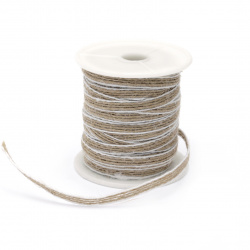 Burlap ribbon 6 mm x17.5 meters white edging