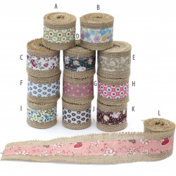Burlap Base for Application with fabric ribbon DIY Crafts Decorations, Embroidery 5x200 cm assorted colors