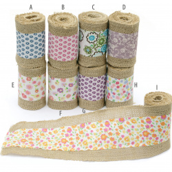 Burlap Base for Application with fabric ribbon, DIY Crafts Decorations, Embroidery, 10x200 cm., assorted colors