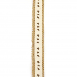 Burlap Base for Application with fabric ribbon DIY Crafts Decorations, Embroidery 2.5x200 cm with stars