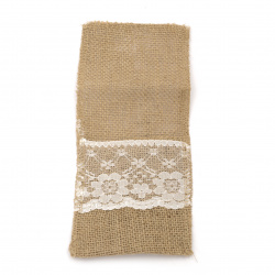 Burlap pocket with lace for table decoration, DIY Craft projects 100x220 mm