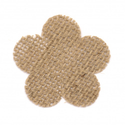 Element for decoration sackcloth 55x55 mm flower five leaves - 2 pieces