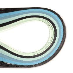 Ленти за квилинг (хартия 80 гр) 3 мм/39 см -6 цвята синя гама- 120 бр