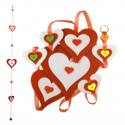 DIY Hanging felt hearts made of felt - red 15x150 cm