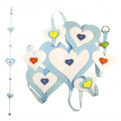 DIY set Hanging hearts decoration felt 15x160 cm - blue 15x150 cm