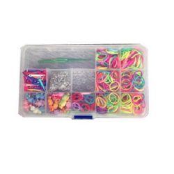 Комплект за плетене на гривни в кутия -кука 85 мм, ~12 броя S-скоби, ластички 18 мм АСОРТЕ, 4 вида висулки пластмаса и метални халки