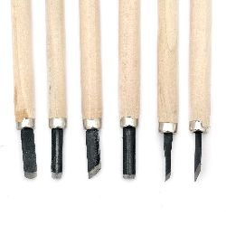 Set of wood carving blades with wooden handle 6 pieces