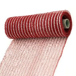 Decoration net 260 mm red rainbow silver -9 meters