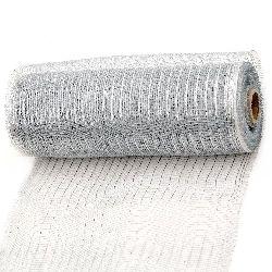 Мрежа за декорация 260 мм сива сребро -9 метра