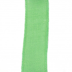 Natural Jute Burlap Ribbon Base for Application DIY Crafts Decorations, Embroidery 6x200 cm green