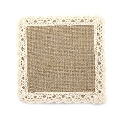 Burlap Base for Application with lace DIY Crafts Decorations, Embroidery 10x10 cm.