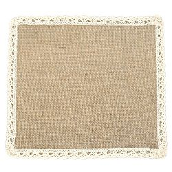 Burlap Base for Application with lace DIY Crafts Decorations, Embroidery 20x20 cm.