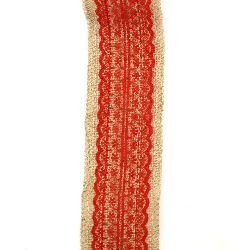Natural Jute Burlap Ribbon Roll for DIY Crafts Wedding Decoration Handmade 6x200 cm with lace red