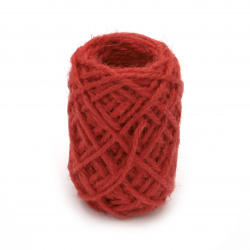Κορδόνι γιούτα 2 mm τρίκλωνο κόκκινο-10 μέτρα