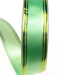 Лента панделка 32 мм зелена със злато -11 метра