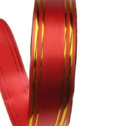 Florist Ribbon, Balloons, Flowers, Wrapping, Gifts, DIY 32 mm red with gold -11 meters