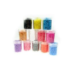 Acylic Mosaic beads, figurines and bracelets 5x5 mm thick Mixed colors ~ 14 grams ~ 260 pieces in a jar