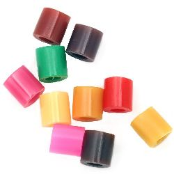 Acylic Mosaic beads, figurines and bracelets 5x5 mm hole 3 mm thick 10 colors in box ~ 900 pieces