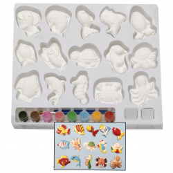 Drawing kit 15 pieces of gypsum figurines with paints and 2 brushes
