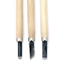 Set of carving blades with wooden handle 3 pieces