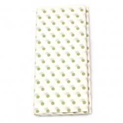 Tissue Paper for Decoration 50x65 cm white with green dots - 10 sheets
