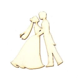 Newlyweds from chipboard for decoration on wedding cards, albums 90x1 mm - 2 pieces