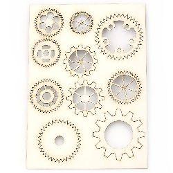 Комплект елементи от бирен картон зъбчати колела