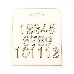Αριθμοί από χαρτόνι chipboard 20 mm από 1 έως 12