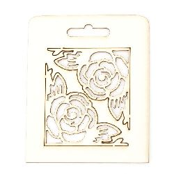 Set of elements of chipboard corner ornaments with flowers 5x5 cm