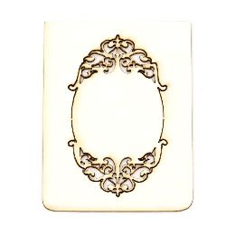 Chipboard element plate with ornaments 6x3.3 cm